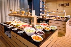 Rich breakfast on buffet in Le Bistro restaurant
