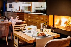 Close to the fire place in Le Bistro restaurant
